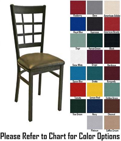 AAF MC450GR5 Upholstered Side Chair w/ Metal 9-Grid Window Back & Grad