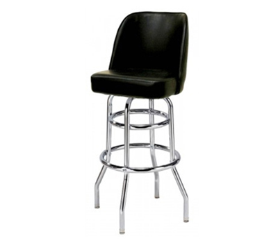 AAF MS2B-LBL Upholstered Bucket Style Swivel Barstool w/ Chrome Plated Frame, Black Vinyl