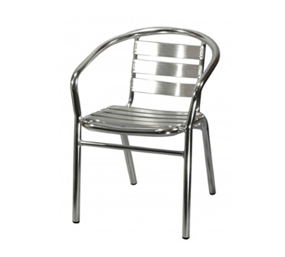 AAF OA110 Patio Stacking Arm Chair w/ Metal Slat Back & Seat, Aluminum