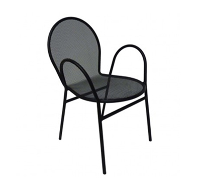 AAF OM110 Patio Stacking Arm Chair - Mesh Back/Seat Powder Coated 16-ga