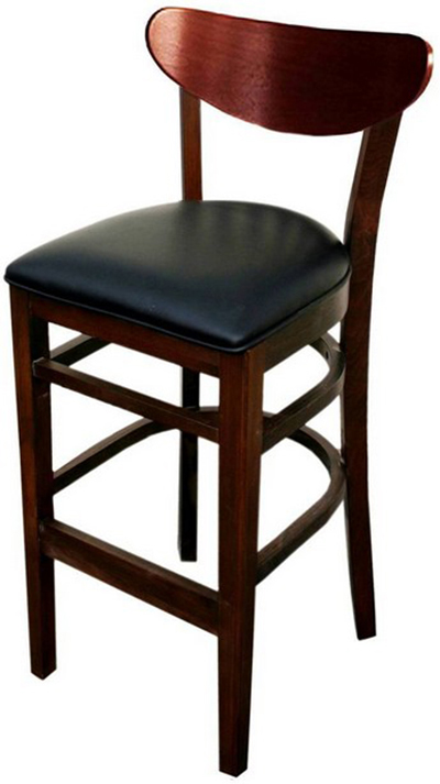 AAF WC808-BSBL Barstool - Wood Oval Back, Dark Mahogany Finish Bla
