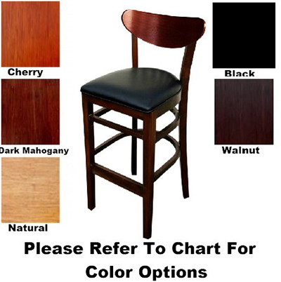 AAF WC808-BSWS German Beech Barstool w/ Oval Back Solid Seat & Dark Mahogany Finish, Footrest