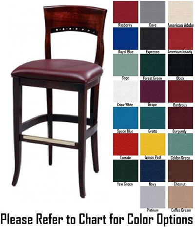 AAF WC828-BSGR5 Upholstered Beidermeier Barstool w/ Circle Cutouts & Wood Back, Grade 5