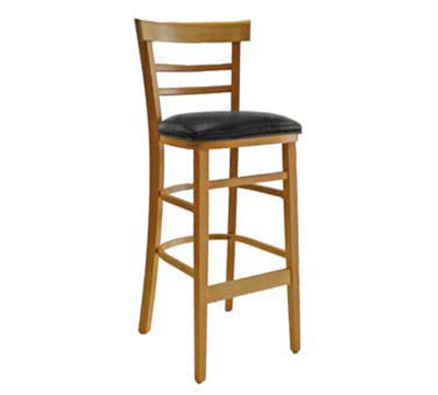 AAF WC836-BSBL Upholstered Economy Barstool w/ Wood Ladder Back, German Beech Wood, Black Vinyl