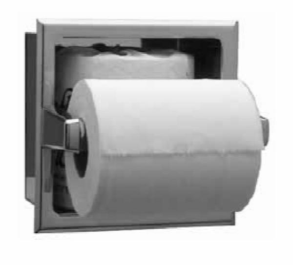 Bobrick B663 Recessed Toilet Tissue Dispenser With Extra