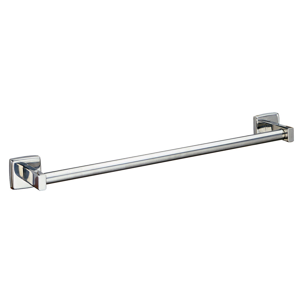 Bobrick B-674X18 18-in Surface Mounted Towel Bar, Round, Bright Poli