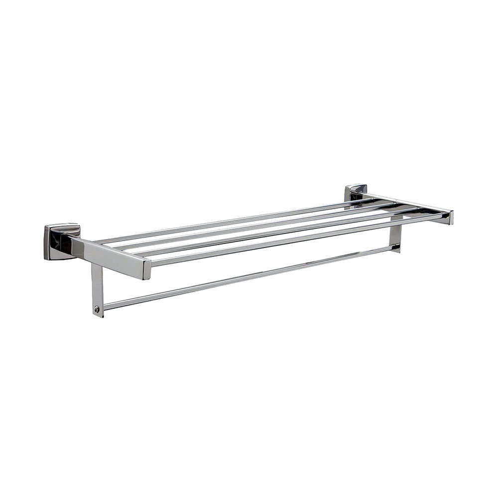 Bobrick B-676X24 24-in Surface Mounted Towel Shelf w/ Bar, Square, Stainless