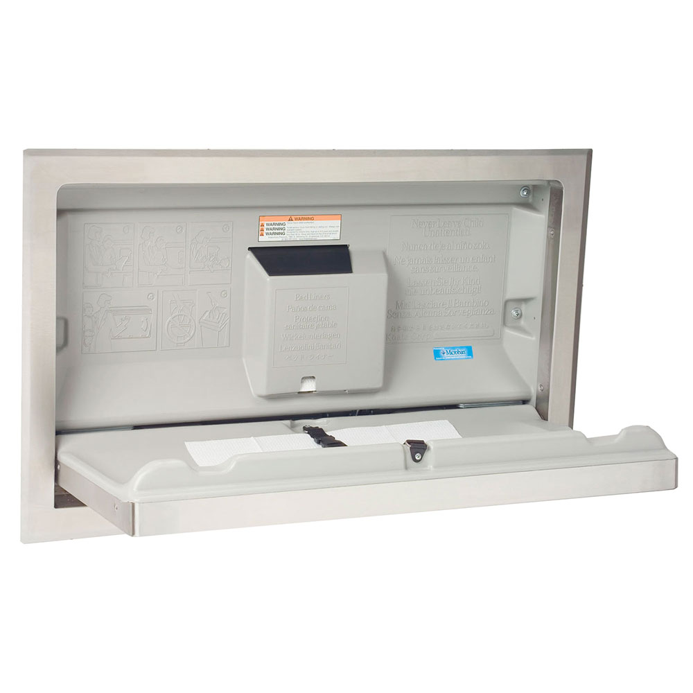 Bobrick KB110-SSRE Changing Station, Horizontal Recess Wall Mounted