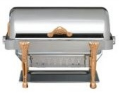 Bon Chef 17040G 2-Gallon Rectangular Roll Down Dripless Chafer, Gold