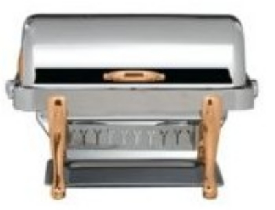 Bon Chef 19040CP 2-Gallon Rectangular Roll Down Stainless Chafer, w/ Copper