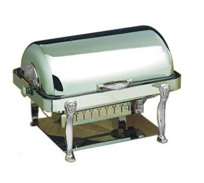Bon Chef 18040CH 2-Gallon Rectangular Roll Down Chafer, Chrome, Lion
