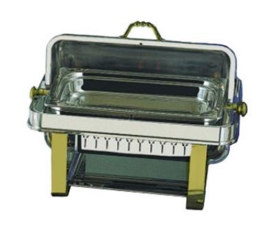 Bon Chef 12004G Rectangular 2-Gallon Roll Down Chafer, Stainless w/ Gold