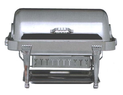 Bon Chef 12040CH Rectangular 2-Gallon Roll-Down Food Chafer, w/ Chrome Accent