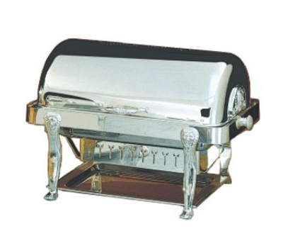 Bon Chef 18040S 2-Gallon Rectangular Roll Down Chafer, Silver, Lion