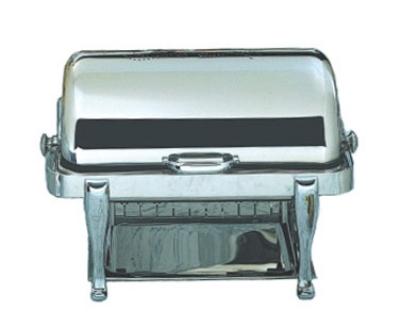 Bon Chef 19040CH 2-Gallon Rectangular Roll Down Stainless Chafer, w/ Chrome