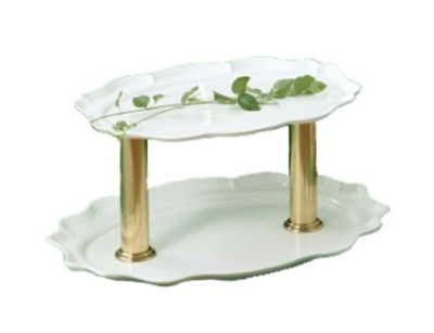 Bon Chef 2030DTS IVO 2-Tier Oval Display Stand, 24-in, Aluminum/Ivory