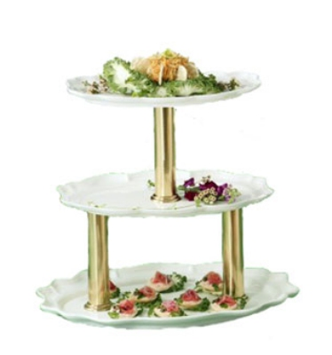 Bon Chef 2030TTS IVO 3-Tier Display Stand, 24-in, Aluminum/Ivory