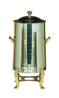 Bon Chef 40005 5-Gallon Coffee Urn/Server, Insulated Heavy Gauge Stainless, Brass
