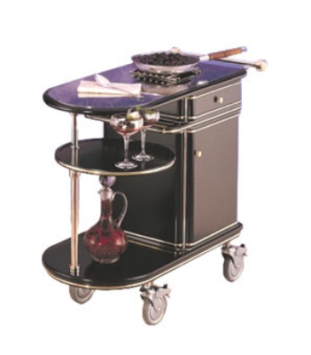Bon Chef 50020 Flambe Deco Trolley, Black Lacquer, Swivel Shelf, Casters