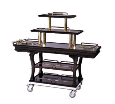 Bon Chef 50060 5-Tier Dessert Cart, 2-Pull-Out Shelves, Swivel Casters