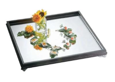 Bon Chef 51011 Glass Display Mirror Tray w/ Wooden B