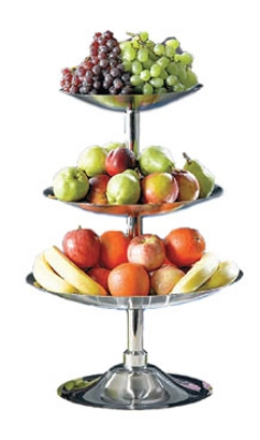 Bon Chef 61101 3 Tier Fruit Bread Display Stand Stainless