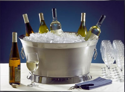 Bon Chef 61283 21.1-in Round Double Wall Beverage Tub, Stainless