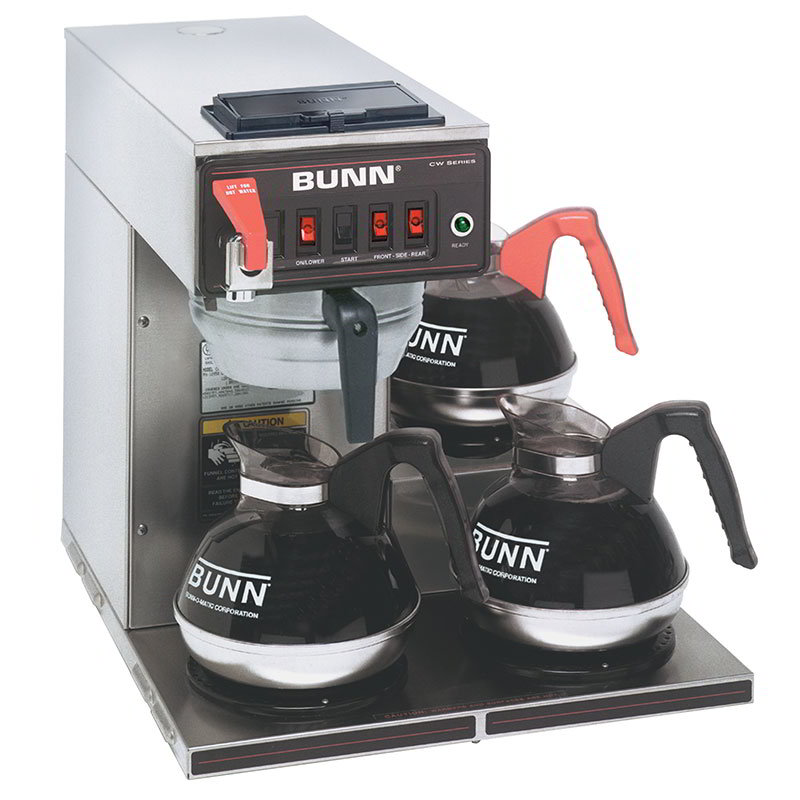BUNN-O-Matic 12950.0216 CWTF15-3 Automatic Coffee Brewer, 3 Lower Warmers, S/S Funnel, 120V