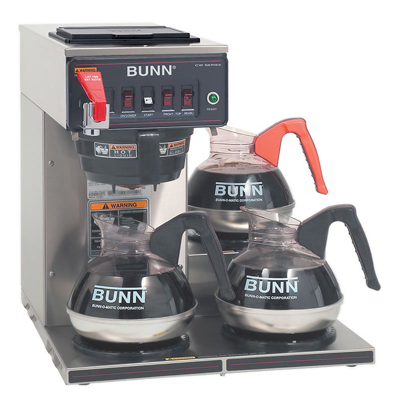 BUNN-O-Matic 12950.0252 Coffee Brewer, 3 Lower Warmers & Faucet, Plastic Funnel, 120 V
