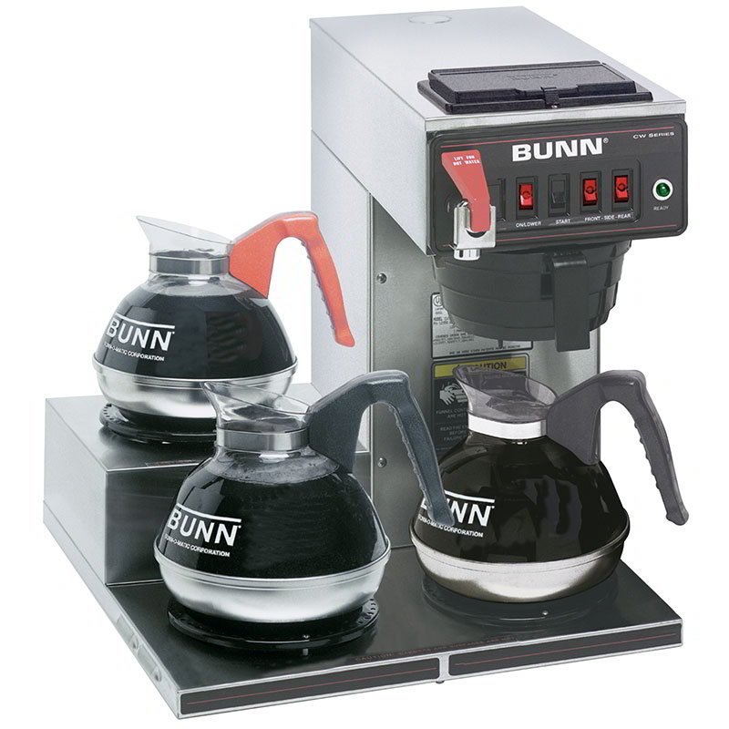 BUNN-O-Matic 12950.0298 Coffee Brewer, 3-Lower Warmers & Faucet, Plastic Funnel, 120 V