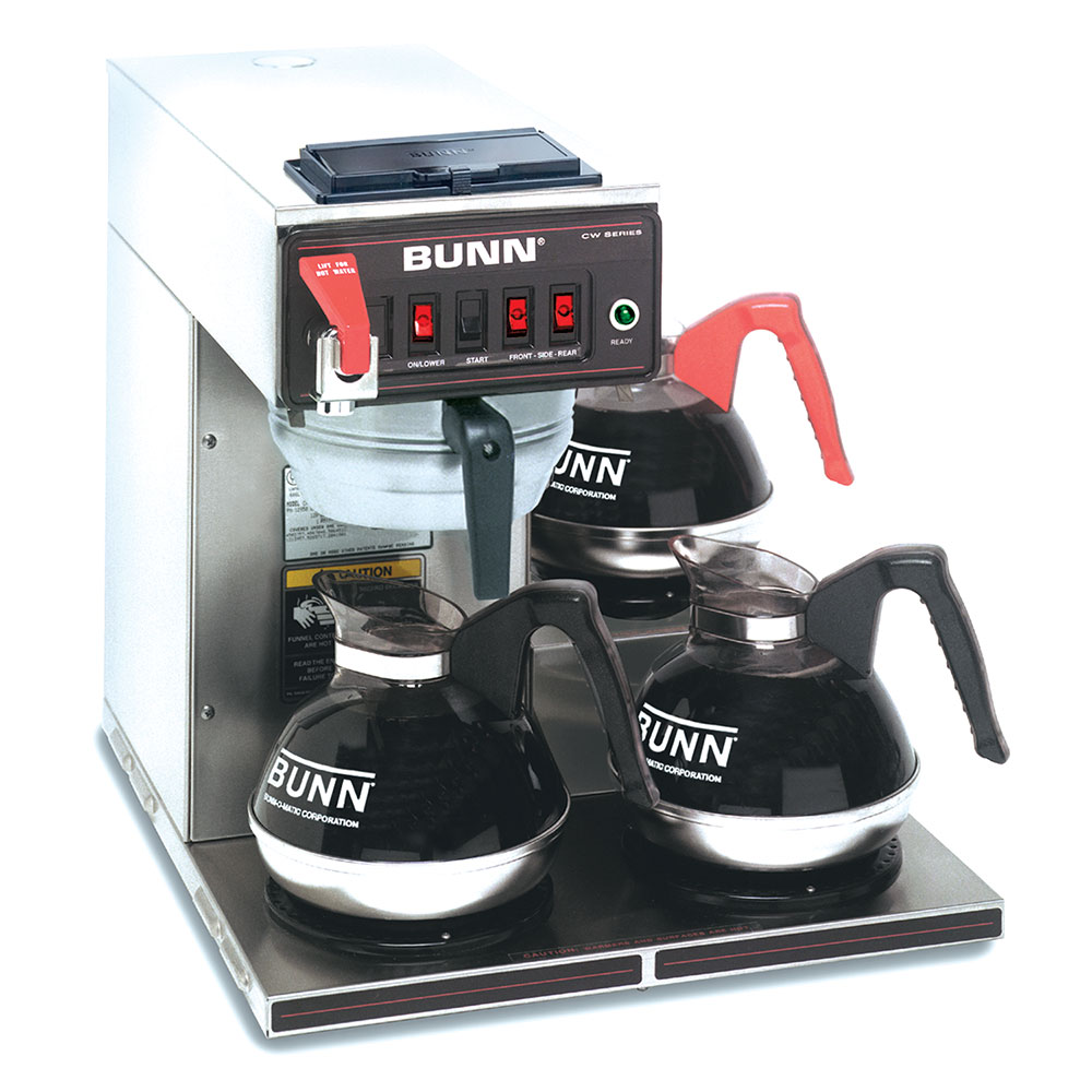 BUNN-O-Matic 12950.0409 Coffee Brewer, 3-Lower Warmers & Faucet, Dual Voltage
