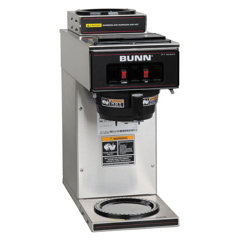 BUNN-O-Matic 13300.0002 VP17-2 SS Pourover Coffee Brewer, 1 Upper/1 Lower Warmers