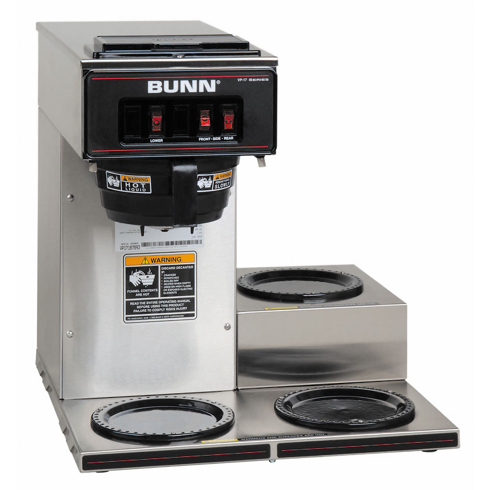 BUNN-O-Matic 13300.0003 VP17-3 SS Pourover Coffee Brewer, 3 Lower Warmers