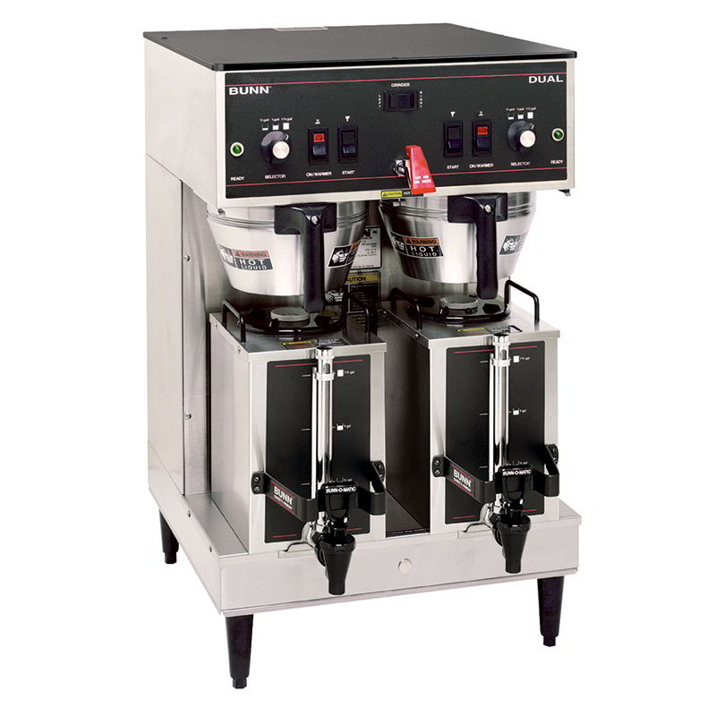 BUNN-O-Matic 20900.0008 Dual Satellite Coffee Brewer W/Servers, S/S, Plastic Funnel, 120/208V