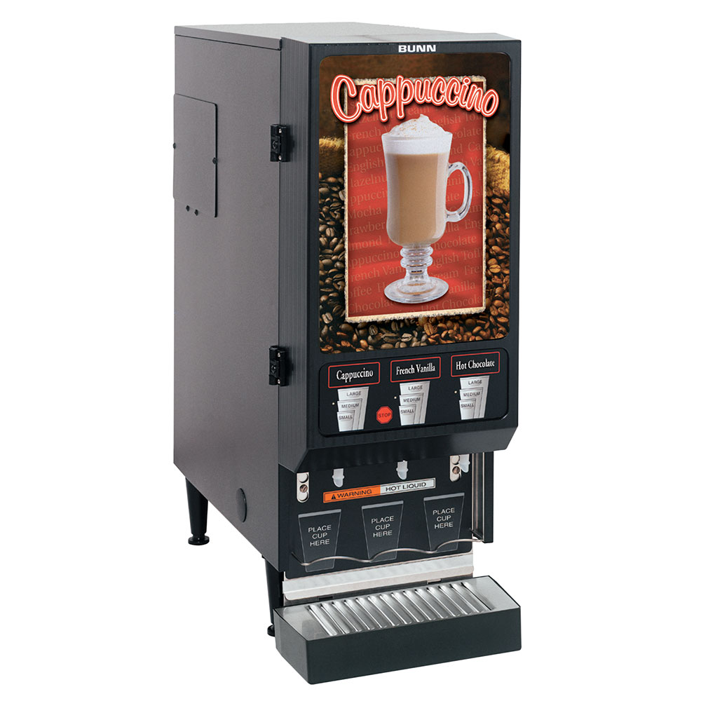 BUNN-O-Matic 29250.0000 Hot Powdered Drink Machine, 3-Hoppers, Cafe Latte Display