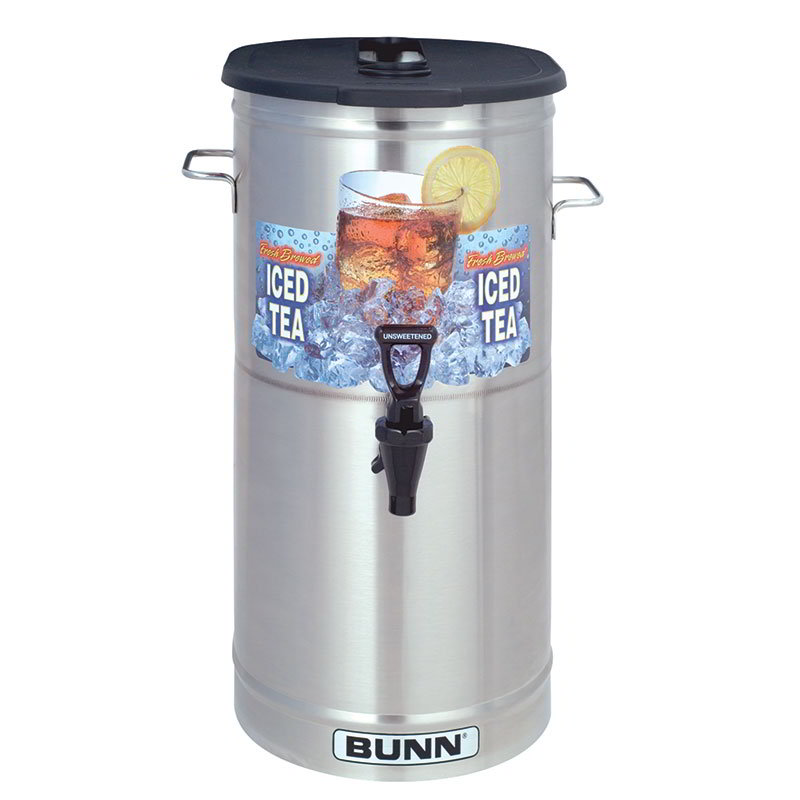 BUNN-O-Matic 34100.0002 TDO-4 Iced Tea Dispenser, Oval, Brew-Through Plastic Lid, 4 Gallon