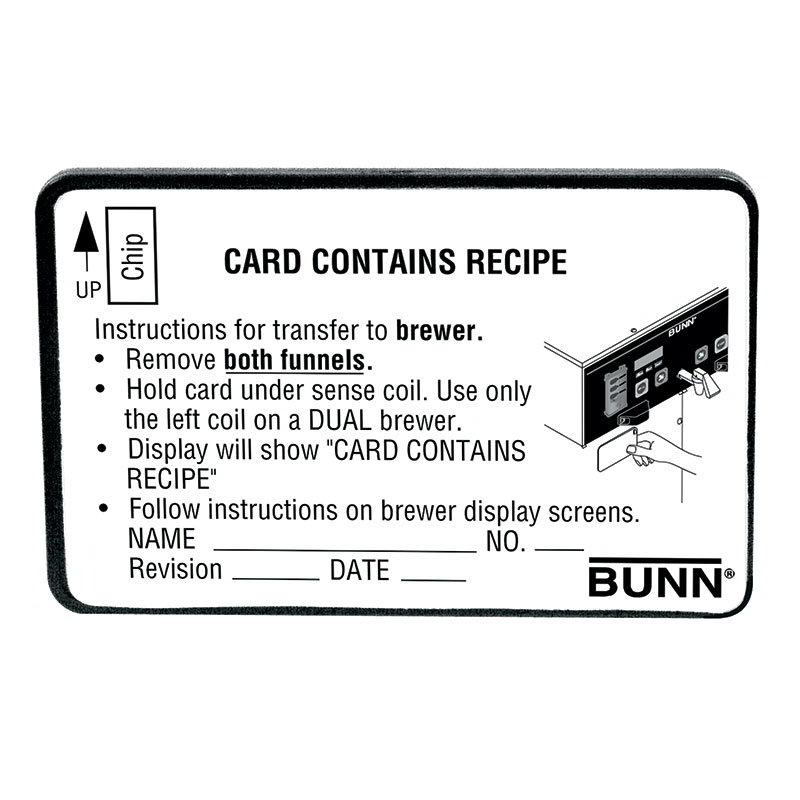 BUNN-O-Matic 34447.0000 BrewWISE Recipe Writer Recipe Card