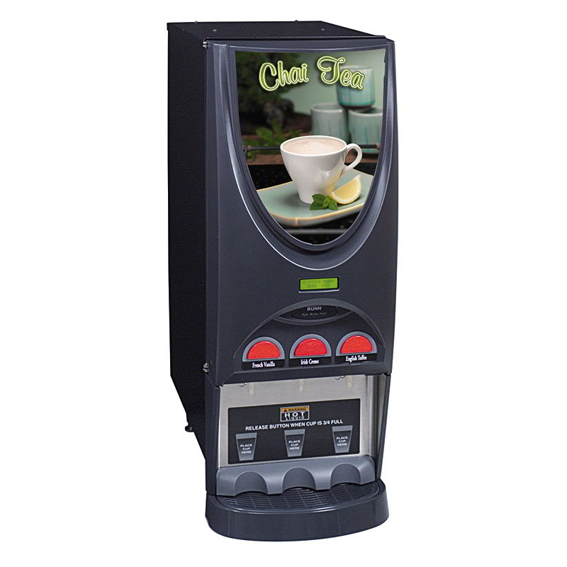 BUNN-O-Matic 36900.0005 Hot Drink Dispenser, 3-Hoppers, Specialty Display, Black