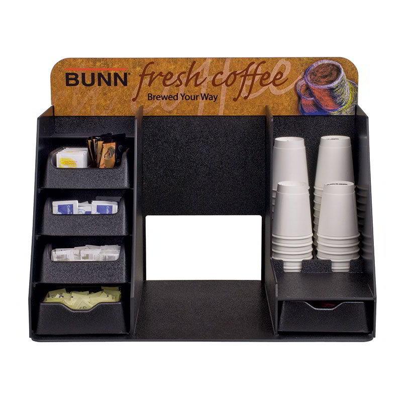 BUNN-O-Matic 39501.0001 Merchandiser Rack, 4 Pull-Out Drawers, Cup Placement, Graphics Header