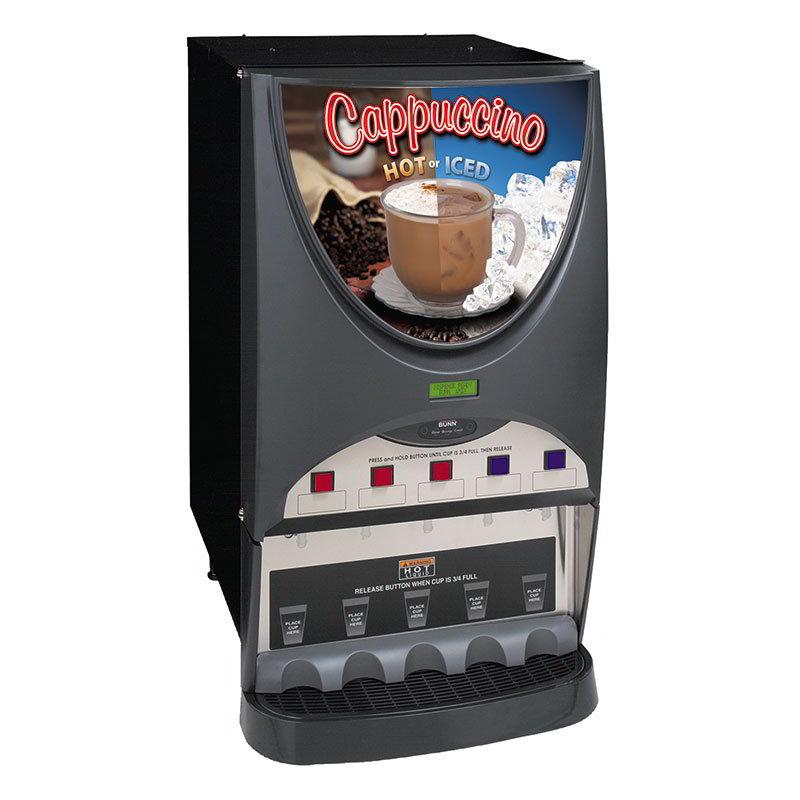 BUNN-O-Matic 40900.0050 Hot & Iced Drink Dispenser, (5) 8-lb Hoppers, 4.5-gal in 1-Hr, Silver