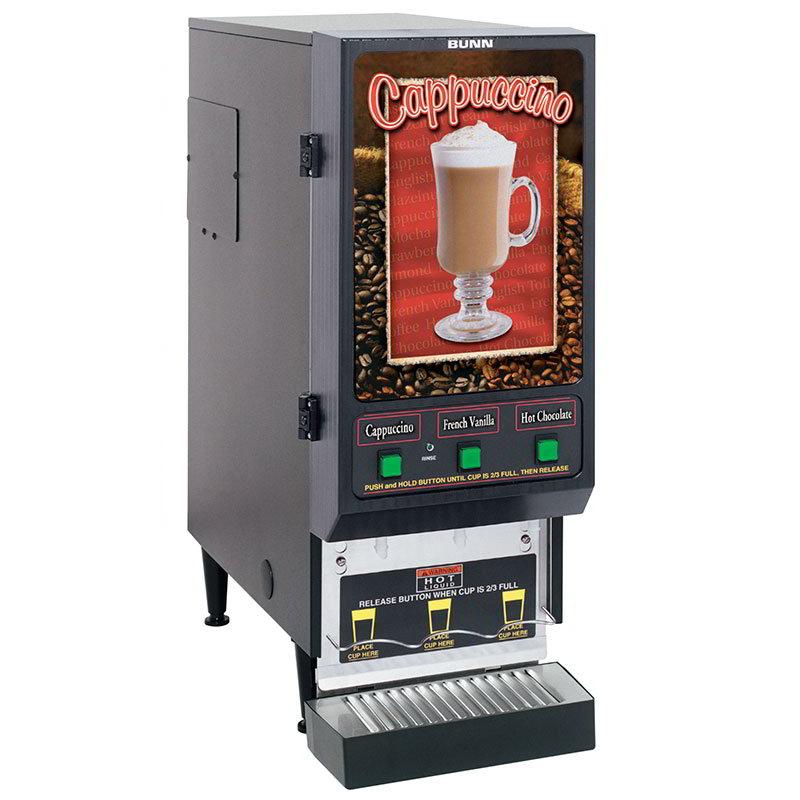 BUNN-O-Matic SET00.0197 FMD-3 BLK Hot Powdered Drink Machine, 3 Hoppers, Cafe Display, Blk