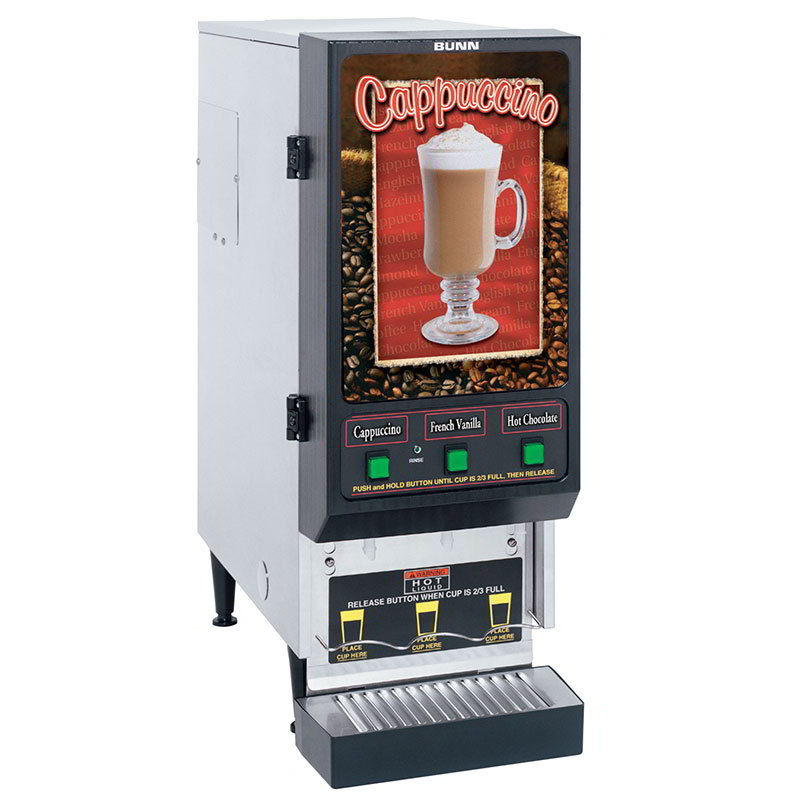 BUNN-O-Matic SET00.0198 FMD-3 S/S Hot Powdered Drink Machine, 3 Hoppers, Cafe Display, S/S