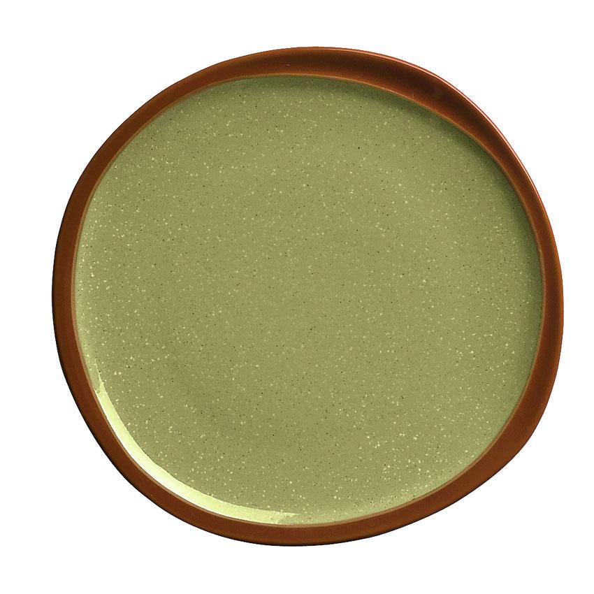 """Syracuse China 922224358 12"""" Terracotta Plate - Organic Shape, 2-Tone Fern/Green"""