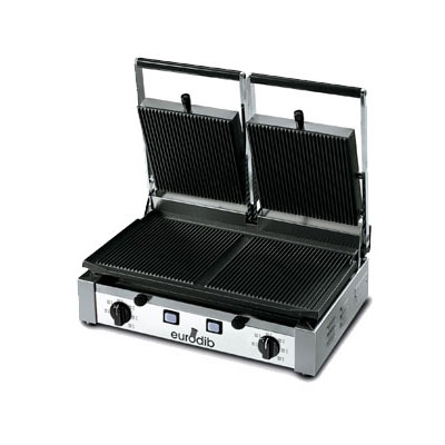 Eurodib PDR3000 Panini Grill w/ Ribbed Spilt Top & Bottom, 220 V