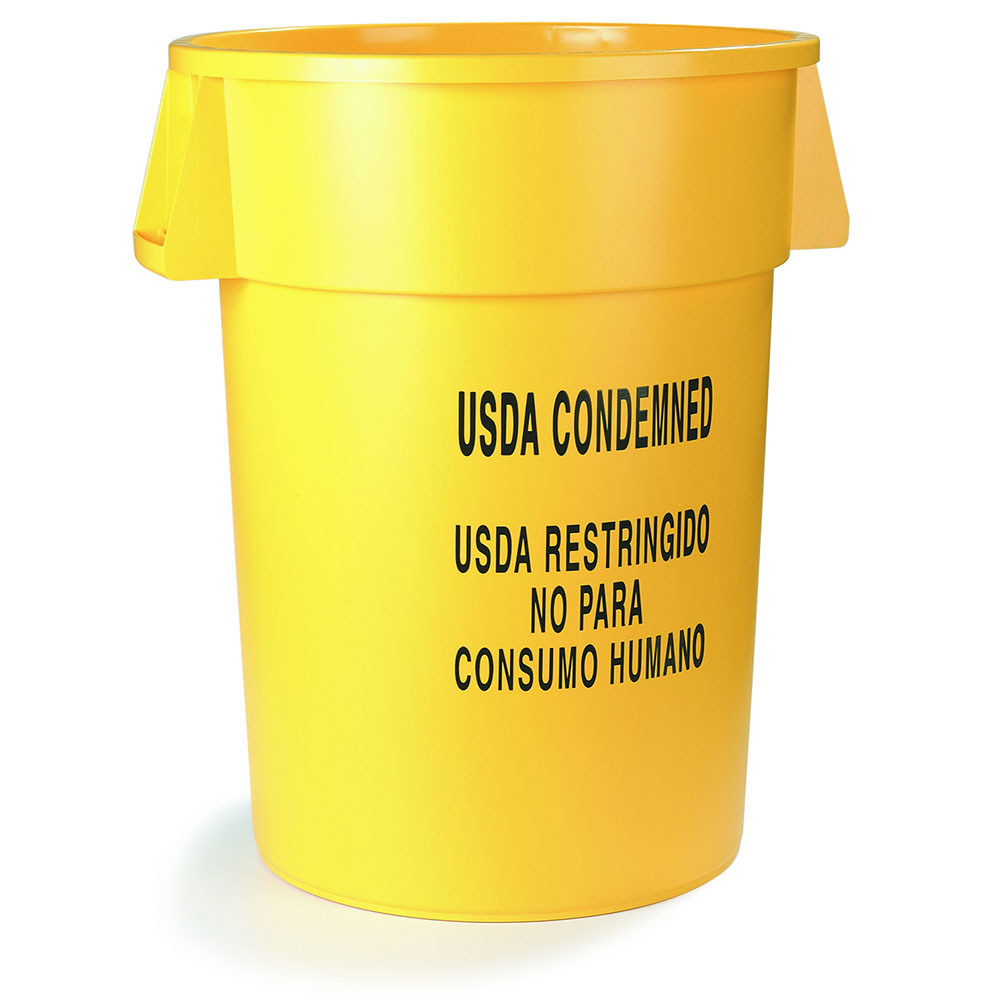 "Carlisle 341044USD04 44-gal Round Waste Container - ""USDA Condemned"" Yellow"