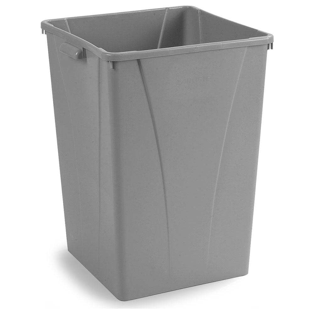 Carlisle 343950-23 50-gal Square Waste Container - Polyethylene, Gray