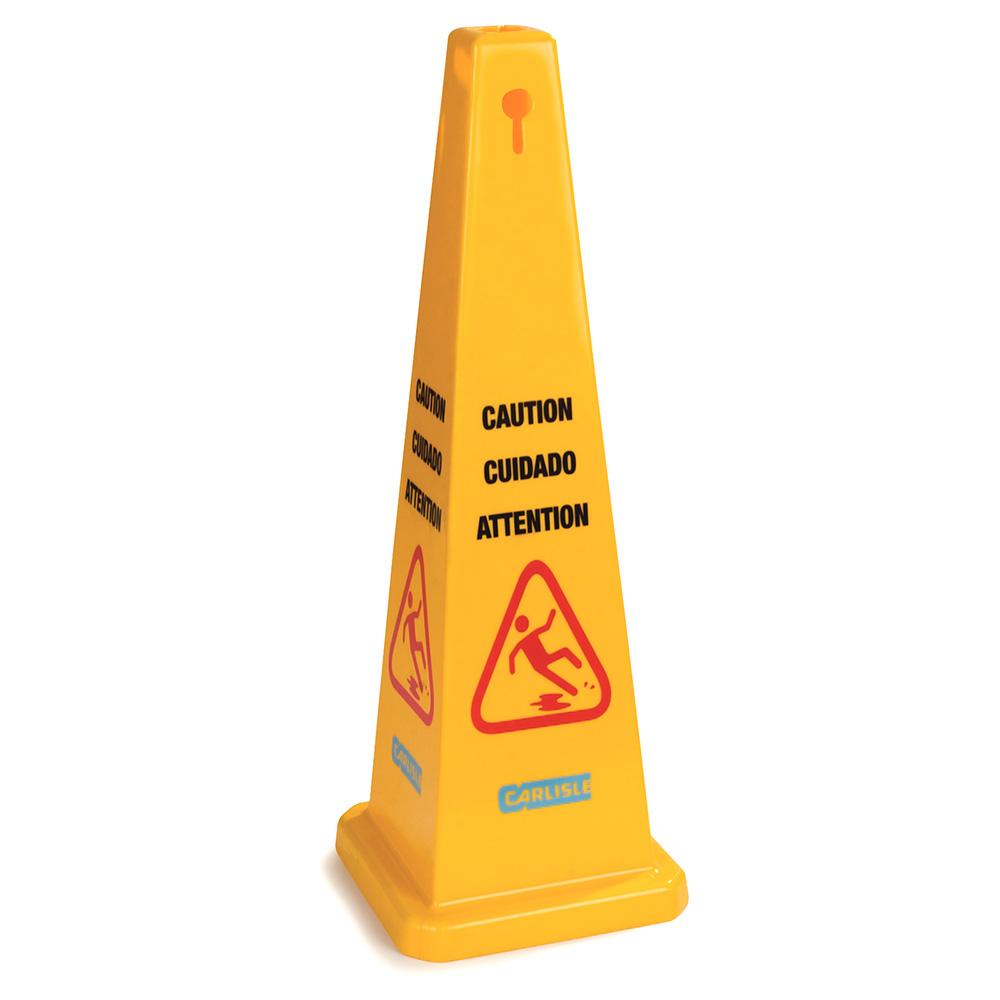 """Carlisle 36941-04 Caution"""" Cone Floor Sign - 13-1/2x36"""""""