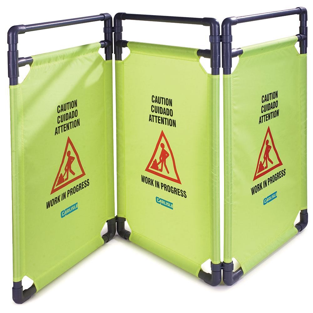 "Carlisle 36944-04 Caution"" Safety Barrier - 22-1/2x38-3/4"" 3-Panel, Nylon, Avocado"