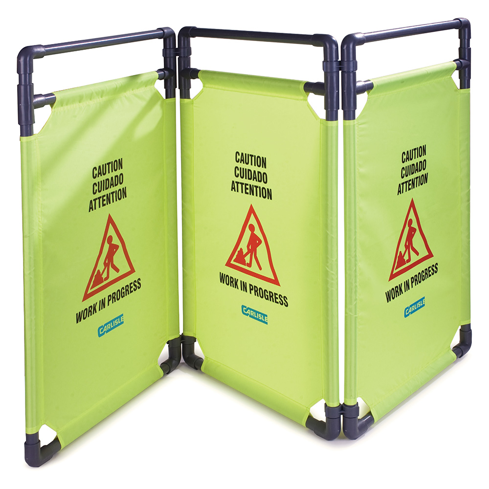 "Carlisle 36945-04 Caution"" Safety Barrier - 22-1/2x38-3/4"" Multi-Lingual, Avocado"