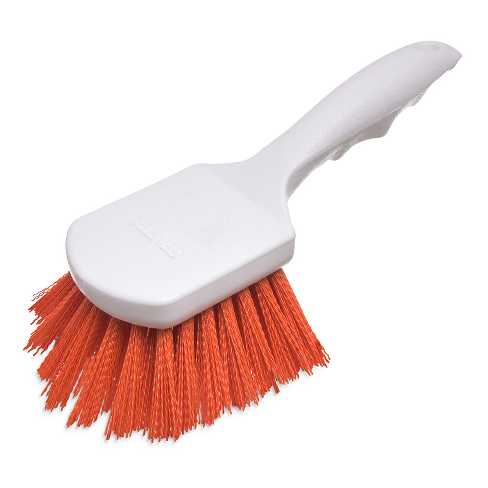 "Carlisle 40541-24 8"" Utility Scrub Brush - Angled, Poly, Orange"
